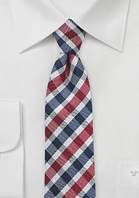 Skinny Gingham Men's Tie in Red and Navy
