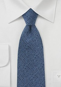 Wool Textured Tie in Cobalt Blue