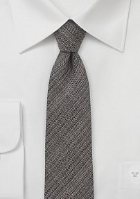 Wool Skinny Necktie in Espresso Brown