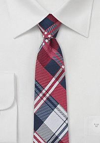 Summer Cotton Plaid Necktie in Red and Blue
