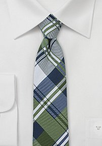 Cotton Skinny Tie in Navy, Olive, and Silver