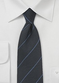 Charcoal Wool Necktie with Blue Stripe