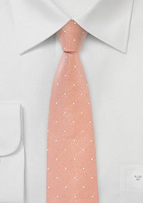 Peach Coral Skinny Tie with White Dots
