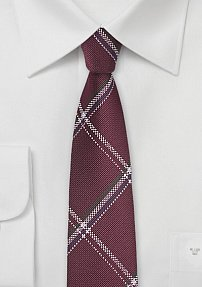Trendy Skinny Plaid Tie in Deep Red and Silver