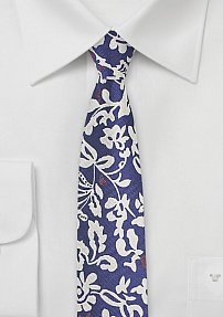 Modern Skinny Tie with Bold Floral Design