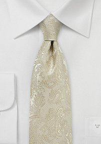 XL Paisley Tie in Golden Champagne
