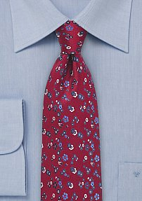 Men's Silk Tie in Ruby Red with Blue Floral Print