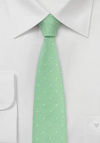Lime Green Cotton Tie in Skinny Cut