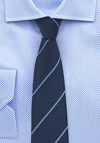 Navy Skinny Wool Tie with Light Blue Stripes
