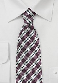 Contemporary Gingham Check Tie in Chestnut Brown