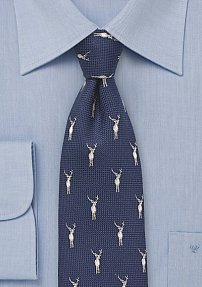 Outdoorsmen Tie in Navy with Embroidered Stags