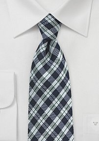 Wool Gingham Check Tie in Dark Blue and Silver