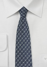 Denim Silk Skinny Tie with Houndstooth
