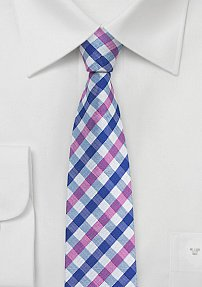 Summer Checkered Tie in Pink and Blue