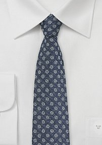 Denim Look Silk Skinny Tie with Polka Dots