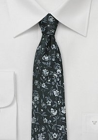 Trendy Skinny Floral Tie in Gray, Silver and Charcoal