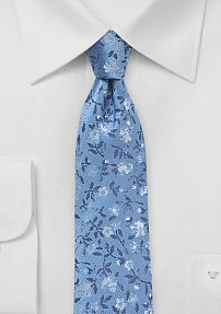 Trendy Skinny Floral Necktie in Light Blue