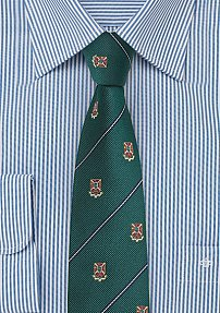 Forest Green Skinny Tie with Woven Crests