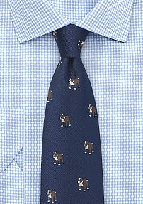 Fun Bulldog Print Tie in Classic Navy Blue