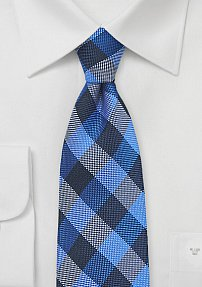 Trendy Blue Gingham Check Silk Tie
