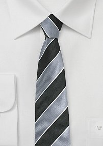 Repp Textured Skinny Tie in Jet Black and Silver