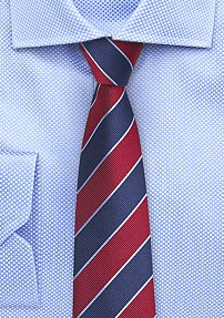 Slim Cut Repp Striped Tie in Red and Navy
