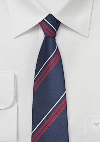 Classic Navy Skinny Tie with Red Stripes