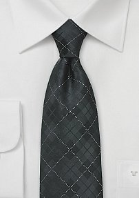 Jet Black Tie with Monochromatic Plaid Design