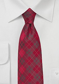Trendy Plaid Tie in Candy Apple Color