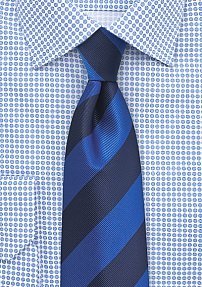Blue and Navy Repp Striped Tie