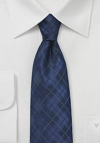 Classic Navy Blue Plaid Tie