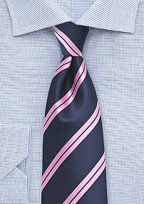 Boys Sized Summer Tie in Navy and Pink
