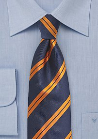 Dark Midnight Blue Tie with Modern Orange Stripes
