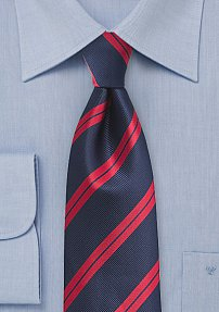 Trendy Repp Tie in Classic Reds and Blues