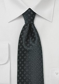 Extra Long Tie in Black with Polka Dots