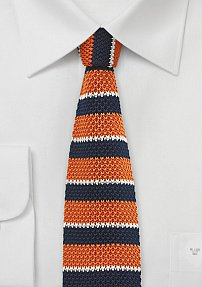 Knit Designer Tie in Navy and Orange