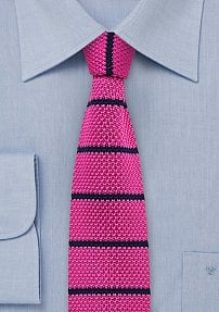 Hot Pink Knitted Tie with Blue Stripes