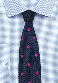 Navy Blue Silk Knit Tie with Magenta Dots