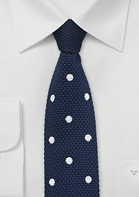 Dark Blue Silk Knit Necktie with White Dots