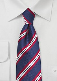 Repp Stripe Necktie for Boys in Red and Blue