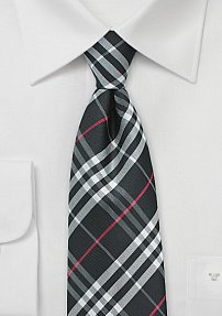 Jet Black, Silver and Red Kids Plaid Tie