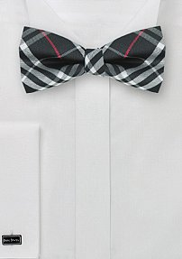 Men's Bow Tie with Tartan Plaid in Black