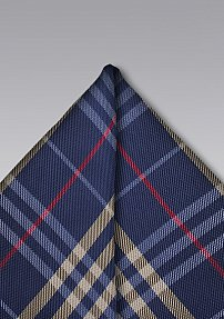 Navy and Gold Plaid Pocket Square