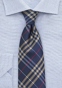 Trendy Tartan Plaid Tie in Navy, Beige, and Red