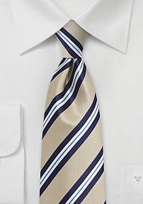 Golden Tan and Blue Kids Striped Tie
