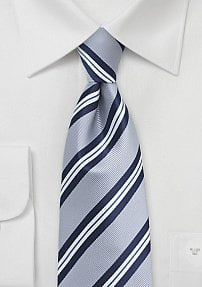 Preppy Repp Necktie in Silver, Blue, and White