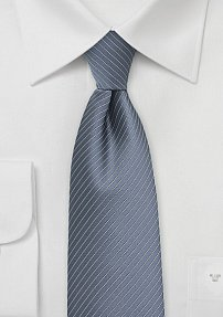 Gray Mens Tie with Fine Silver Pin Stripes