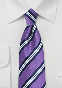 Striped Kids Tie in Lilac, Navy, and White