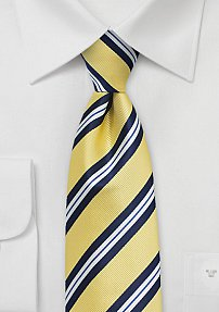 Preppy Repp Striped Summer Tie in Yellow