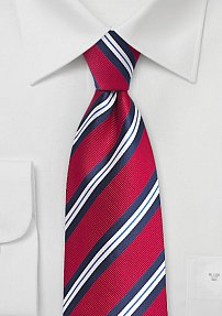 Preppy Repp Stripe Tie in Red and Blue